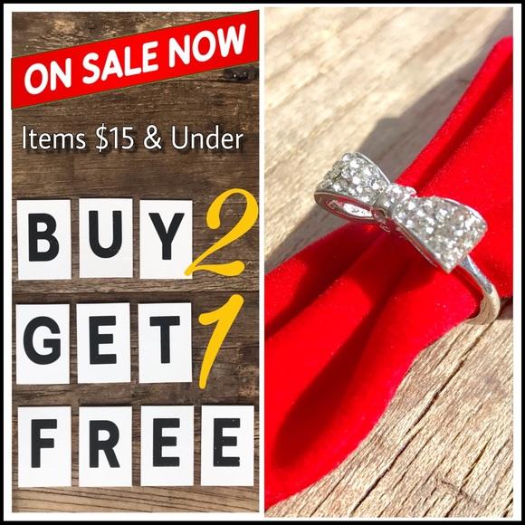 2X Black Rhinestone Crystal Bowknot Tie Ring Adjustable Bow Women Jewelry CA